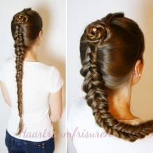 Dutch Fishtail Braid with Rose Accent