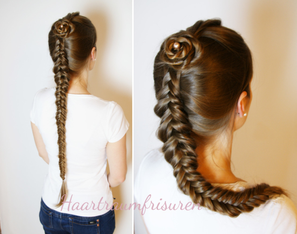 Dutch Fishtailbraid with Ropebraid Rose