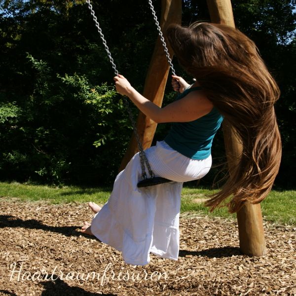 Long hair on a swing