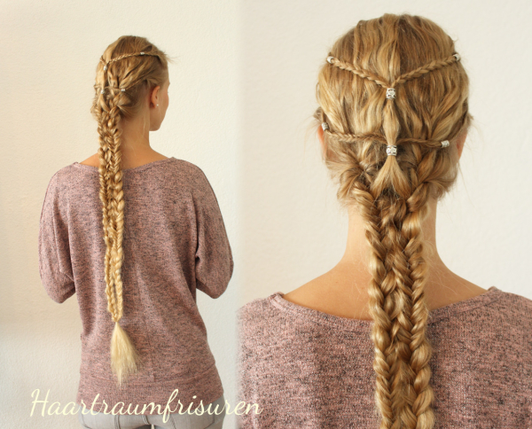 Combination out of fhishtails and three strand braids