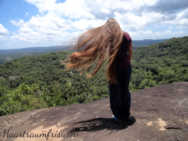 Flying hair at the Rock Temple near Tangalle