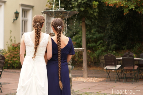 Two long braids - the bride and me