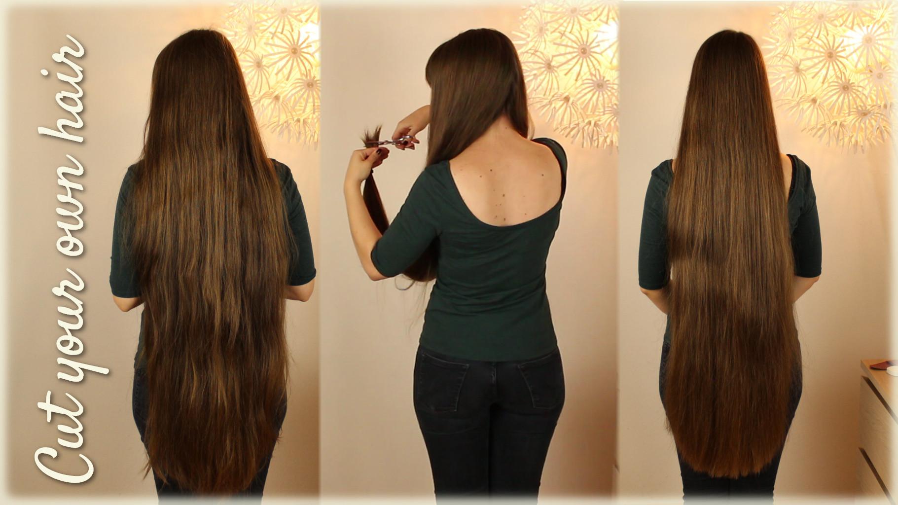 Lange haare selber schneiden zopf methode